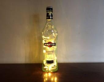 Upcycled Martini Glass Bottle LED Lamp Light