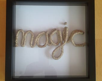 Gold Rope Word Art Picture Black Frame - magic