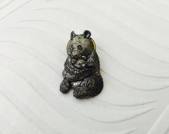 Panda Bear and Baby Bear Brooch, A R Brown Pewter Pin