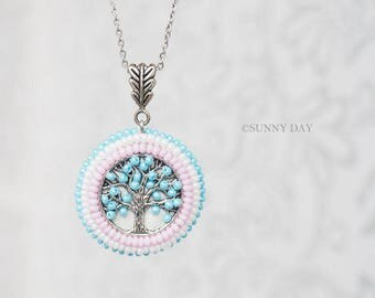 SPRING TREE handmade necklace pendant elegant jewelry seed beads