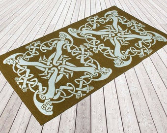 Woollen flat weave rug, Woven and backed. Moss green/ Aqua, Designer rug, flooring, wool, Celtic men, hand finished, home & living, Rugs