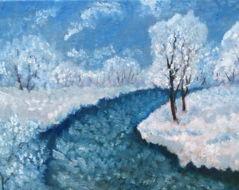 Oil painting. Winter.