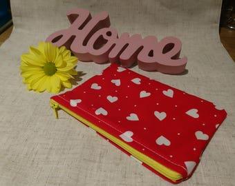 Change purse, wallet, White Hearts, Coin purse,make up bag, yellow, feminine, pretty, polka dots, small, handmade