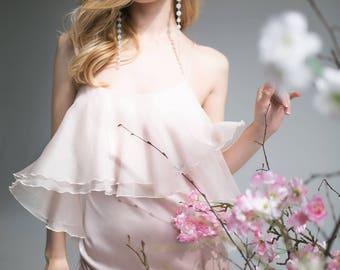 Aurora light pink silk organza dress