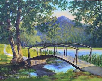 Abbott Lake Bridge II - Print on Canvas