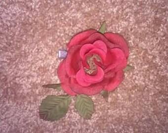 single rose hair barrette