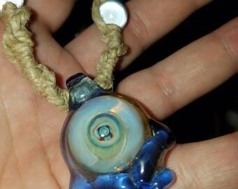 BNC Glass Chakra skull pendant
