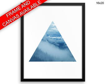 Fog Prints  Triangle Canvas Wall Art Fog Framed Print Triangle Wall Art Canvas Fog Bedroom Art Triangle Bedroom Print Fog triangle sky