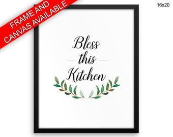 Bless Wall Art Framed Bless Canvas Print Bless Framed Wall Art Bless Poster Bless Kitchen Art Bless Kitchen Print Bless Floral Quote Bless