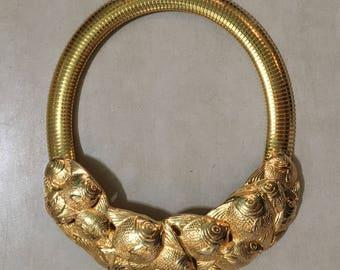 Vintage 80s Bib Fish Necklace