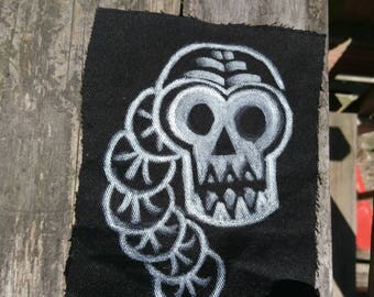 Snake Skull Worm Denim Patch