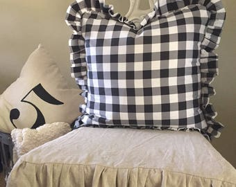 ONE Buffalo Plaid Ruffle Pillow Cover