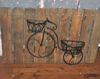 Rustic Bicycle Pot Planter on Fence Palings