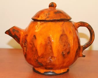 orange tea pot ceramic