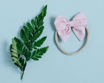 baby nylon headband, stretchy newborn bow, toddler bow headband, sailor bow, pink stripe
