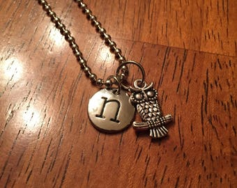 """20"""" Owl Necklace with n letter charm"""