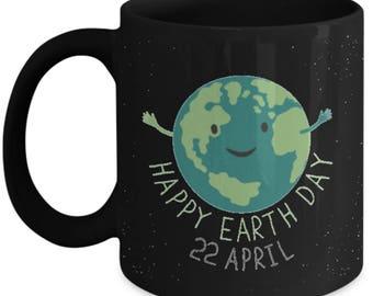 Happy Earth Day black ceramic coffee mug Gifts idea