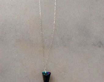 Sterling Silver Rainbow Crystal Necklace