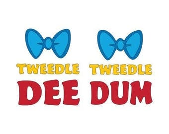 Tweedle Dee and Tweedle Dum DISNEY cut files - Matching shirt - Disneyland - Disneyworld -  Studio cut file - Vinyl cutting personalizable
