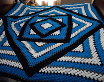 Handmade Crochet Blue-Black-White-Gray Granny Squared Diamond Blanket/Afghan