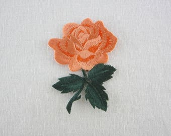 Orange Rose Patch, Iron On Flower Patches Love Series