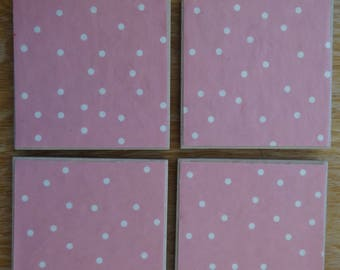 Set of 4 tile coasters, pink with white dots
