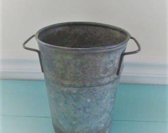 Vintage French galvanized florist bucket