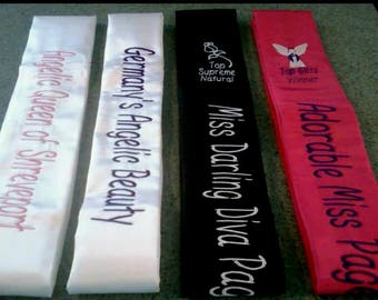 One color foldover embroidered sash