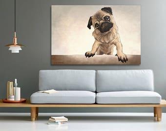 Pug print on canvas