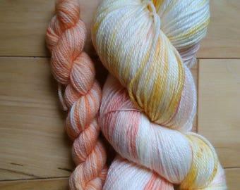 Hand dyed sock yarn - 115g + 20g mini in Mango Tango and Melon
