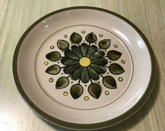 Sears Montego Stoneware Serving Platter / Chop Plate /  1971 / Green Flower / 4113 / Retro / Hip /
