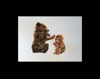 Postcard monkey and bear / 1 postcard A6