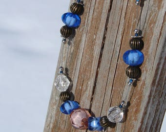 Brilliant Blue and Brown Beaded Necklace
