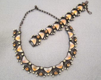 Collectors Exquisite signed FLORENZA Bracelet & Necklace set>> Opals, Topaz, Pearls..oh my!! > new old stock>>a must see!