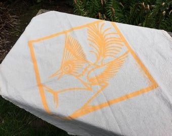 Yellow Bird on Natural Cotton Kitchen Towel