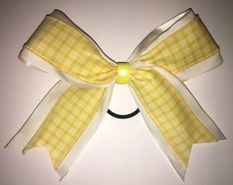 Yellow Gingham Hair Bow