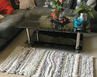 Handmade knitted and crocheted rug
