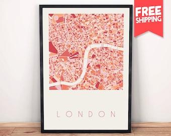 London city map, City maps, London map, London print, United kingdom, London street map, Travel poster, London art, City map art, London art