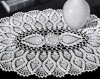 Oval Pineapple Doily Pattern #12-50, Oval Pineapple Crochet Pattern, Vintage Pattern, wedding gift heirloom