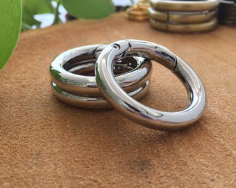 """Silver Round O Gate Ring Strap Ring Round Clasp Strap Connector 6pcs 1"""" (1.0inch) For Bag Making, Strap Making, Purse Holder, Keychain"""