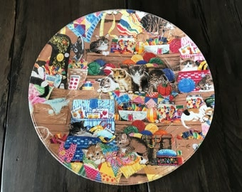 Kitten Party - Decoupage Glass Plate with Fabric