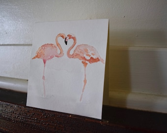 Hand Painted Pink Flamingo Card