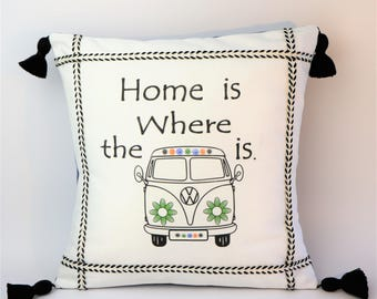 VW Bus Message Pillow Cover with Trim & Handcrafted Tassels