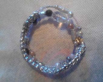 memory Wire Bracelet, pearls, crystals and or needlework on