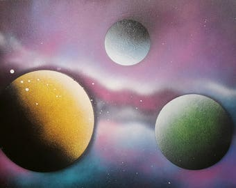 Planets Spray Paint Art