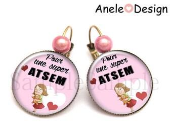 Earrings gift for ATSEM cuddly girl bear - hearts pink black white girl