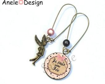 Fairy earrings - pink white black bronze