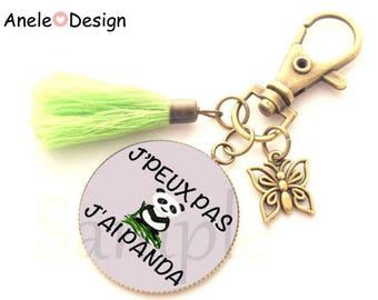 Panda bamboo - green Keychain black white