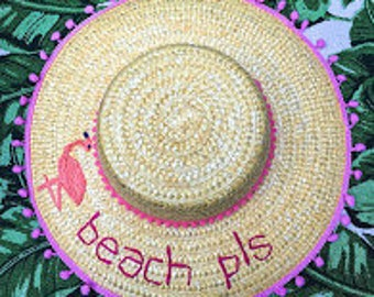 Pom Pom Novelty Straw Summer Sun Hat with Flamingo Detail