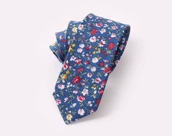 Men's Blue Floral Cotton Tie!